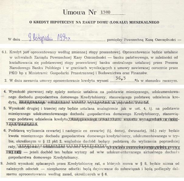 kredyt hipoteczny umowa z 1994