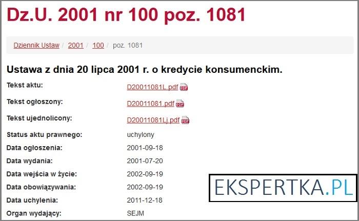 Ustwa o kredycie konsumenckim 2001