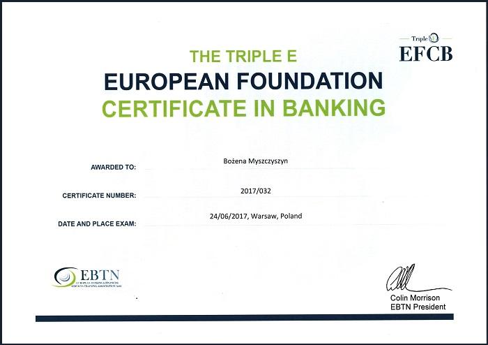 Europejski Certyfikat Bankowca Bożena Myszczyszyn