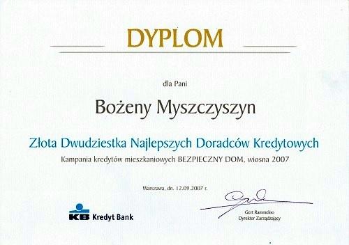 Doradca Kredytowy KBSA Bożena Myszczyszyn
